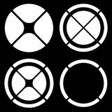 Set of circular crosshair (target mark) symbols or pie chart, pi Stock Images