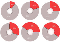 Set of 10% 20% 25% 30% 40% 50% circular diagrams. 10 90 20 80 25 75 30 70 40 60 50 percent pie charts. 3d render circle diagrams. Red and grey isolated Stock Photography