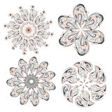 Set of circular floral ornaments patterns Stock Photos