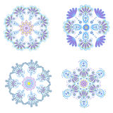Set circular floral ornaments patterns Royalty Free Stock Photo