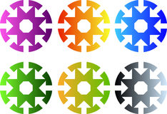 Set of circular icons with eight arrows to center. A set of circular arrows having different gradient colors. Each of them has eight arrows going from the Stock Photography
