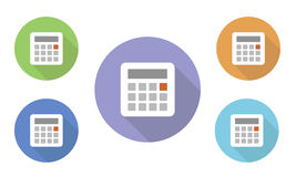 Set of circular illustrated  icons of different colors with calculator and display on web pages Royalty Free Stock Photos