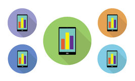 Set of circular illustrated vector icons of different colors with mobile phone and graph on display. On websites and applications Stock Images