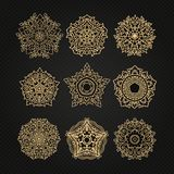 Set of circular ornaments sketches for tattoo graphic Thai desig Stock Image