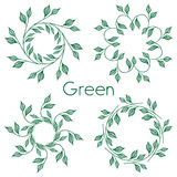 Set of 4 circular patterns. Green leaves in a circle. With inscription Green. On a white background. Vector illustration Royalty Free Stock Photos