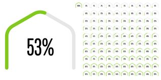 Set of circular sector hexagonal shape percentage diagrams from 0 to 100 Stock Images