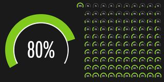 Set of circular sector percentage diagrams from 0 to 100. Set of circular sector percentage diagrams meters from 0 to 100 ready-to-use for web design, user stock illustration