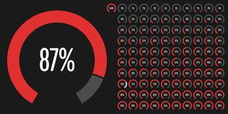 Set of circular sector percentage diagrams from 0 to 100. Set of circular sector percentage diagrams meters from 0 to 100 ready-to-use for web design, user vector illustration