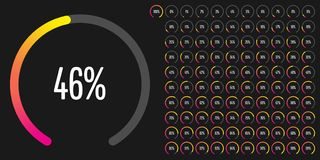 Set of circular sector percentage diagrams from 0 to 100. Ready-to-use for web design, user interface UI or infographic - indicator with gradient from magenta Vector Illustration