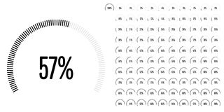 Set of circular sector percentage diagrams from 0 to 100 Royalty Free Stock Photos
