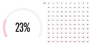 Set of circular sector percentage diagrams from 0 to 100 Royalty Free Stock Photo