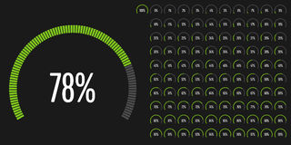 Set of circular sector percentage diagrams from 0 to 100. Ready-to-use for web design, user interface UI or infographic - indicator with green Stock Image