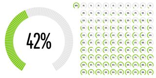 Set of circular sector percentage diagrams from 0 to 100 Stock Photos