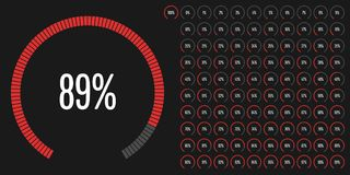 Set of circular sector percentage diagrams from 0 to 100. Ready-to-use for web design, user interface UI or infographic - indicator with red Vector Illustration