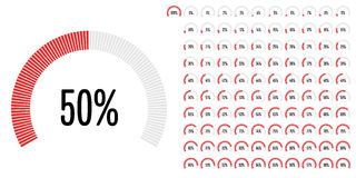 Set of circular sector percentage diagrams from 0 to 100. Ready-to-use for web design, user interface UI or infographic - indicator with red Stock Photos