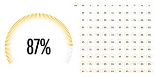 Set of circular sector percentage diagrams from 0 to 100 Stock Images