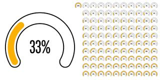 Set of circular sector percentage diagrams from 0 to 100. Ready-to-use for web design, user interface UI or infographic - indicator with yellow Vector Illustration