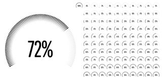 Set of circular sector percentage diagrams from 0 to 100. Ready-to-use for web design, user interface UI or infographic - indicator with black Royalty Free Stock Images