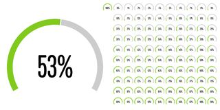 Set of circular sector percentage diagrams from 0 to 100 Royalty Free Stock Images