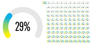 Set of circular sector percentage diagrams from 0 to 100 Royalty Free Stock Photography