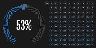 Set of circular sector percentage diagrams from 0 to 100 Stock Image