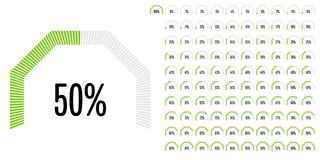 Set of circular sector percentage diagrams from 0 to 100 Stock Photo