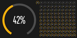 Set of circular sector percentage diagrams from 0 to 100 Stock Photography