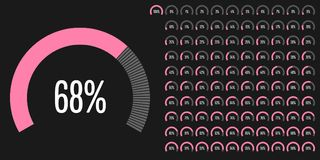 Set of circular sector percentage diagrams from 0 to 100. Ready-to-use for web design, user interface UI or infographic - indicator with pink Royalty Free Stock Images