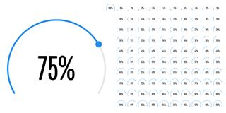 Set of circular sector percentage diagrams from 0 to 100. Ready-to-use for web design, user interface UI or infographic - indicator with blue Royalty Free Stock Images