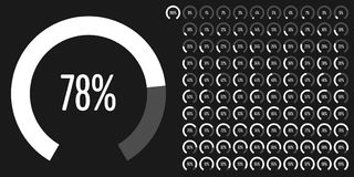 Set of circular sector percentage diagrams from 0 to 100. Ready-to-use for web design, user interface UI or infographic - indicator with white Vector Illustration