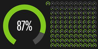 Set of circular sector percentage diagrams from 0 to 100. Ready-to-use for web design, user interface UI or infographic - indicator with green Vector Illustration