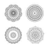 Set of circular symmetric mandalas. Clean flower ornament line art design for adult coloring book Stock Photography