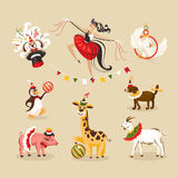 Set of circus animals and characters Stock Images