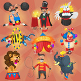 Set of circus and carnival artists Stock Image
