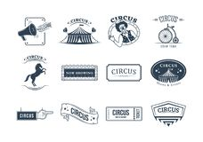 Set of circus and carnival labels, tags, stickers, posters, signage. Stock Photography