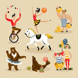 Set of circus characters and animals Royalty Free Stock Photos