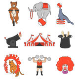Set of circus color icons, design elements  on white background. Flat style. Royalty Free Stock Image