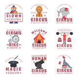 Set of circus emblems, labels, badges and logos on white background. Stock Images