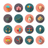 Set of Circus Flat Icons Stock Images