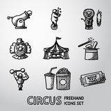 Set of CIRCUS freehand icons with - clown, cannon Royalty Free Stock Photography