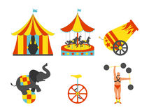 Set of Circus icon. Vintage clip art set. Vector illustration. Stock Photos