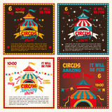 Set circus posters. Set of vintage posters for the circus. Invitation to the show. Vector illustration Stock Photography