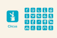 Set of circus simple icons Stock Photography