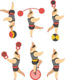 Set of circus. Strongman men in tights in various poses on a white background Stock Photo