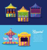 Set of circus tents with games with ticket sale. Vector illustration design stock illustration