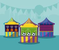 Set of circus tents with games stock illustration