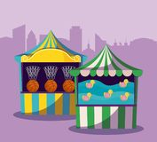 Set of circus tents with games royalty free illustration