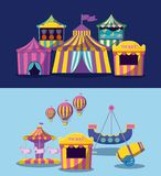 Set circus tents with garlands isolated icon. Vector illustration design stock illustration