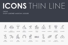 CIRCUS Thin Line Icons. Set of CIRCUS Thin Line Vector Icons and Pictograms Royalty Free Stock Photo