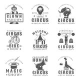 Set of circus vintage emblems, labels, badges and logos in monochrome style on white background. Stock Photos
